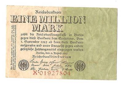 1923 Germany Weimar Republic 1.000.000 Mark Banknote