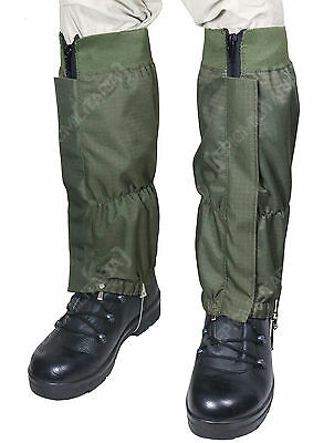 Military WATERPROOF RIPSTOP Hiking Walking GAITERS - Olive Green - Heavy Duty