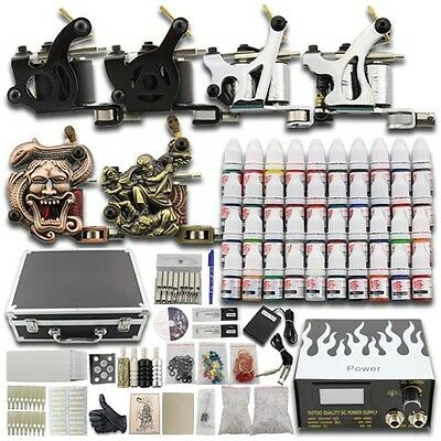 Complete Tattoo Kit 6 Machine Gun Power Supply 40 Color Ink Grip Needle Set DC04