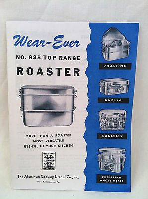 Manual Booklet  for Vintage Wear Ever aluminum roaster pan  made in USA