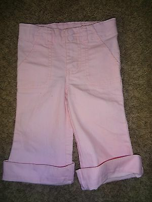 Girls Size 18 Months Pink Cropped Pants Capris By Cherokee Cotton Poly Spandex !