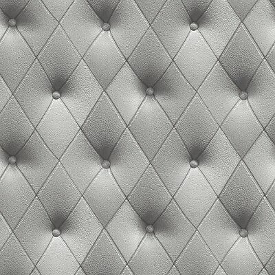 Faux 3-D Grey Button Tufted Diamond Patterned Wallpaper LL29571