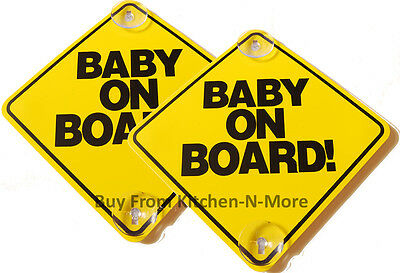 Lot of (2) Large 6 x 6 *BABY ON BOARD!* Old School Yellow Car Sign Suction Cups