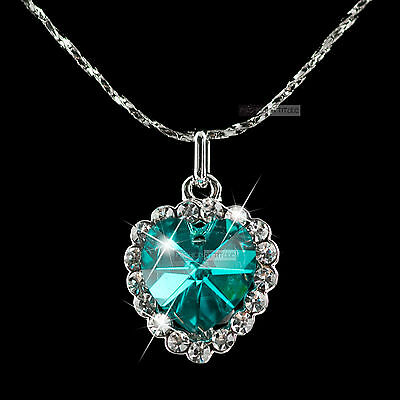 18k white gold plated made with SWAROVSKI crystal love heart pendant necklace