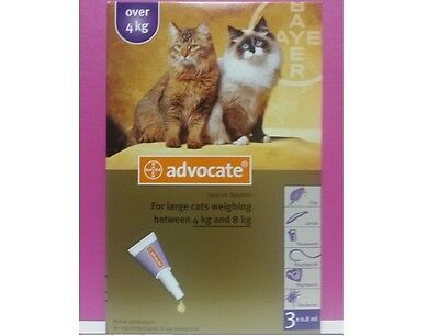 Advocate Cats Over 4 kg 3 Pipettes Flea Tick Worms Treatment Exp.09/2019