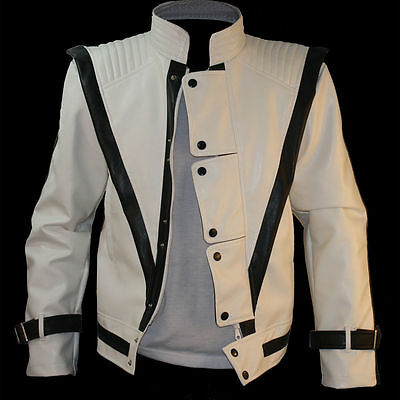 Michael Jackson Mtv White Thriller Cd Man's Jacket Mj Costume Performance Gift