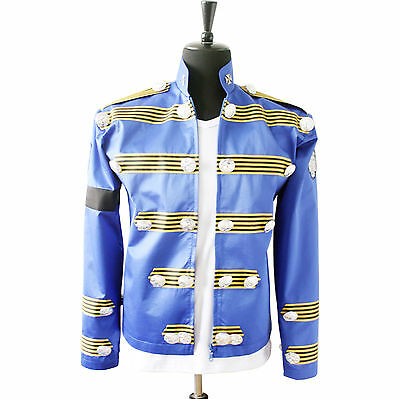 HOT Free Shipping MJ MICHAEL JACKSON MEN'S JACKET BLUE MILITARY JACKET OUTERWEAR