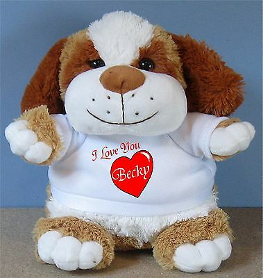 Personalised I Love You Teddy Bear / Puppy - with Opt Red Gift Bag Valentine's