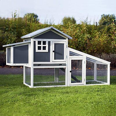 Plastic Chicken Coop & Run Hen House Poultry Ark Home Nest Box Rabbit Hutch +