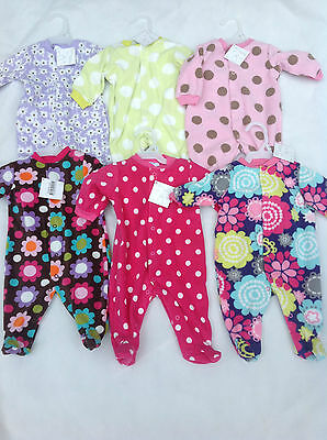 Baby Girls Fleece All In One Babygrow Nb, 0-3, 3-6, 6-9 Various Designs