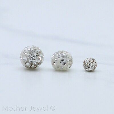 16G Surgical Steel Clear Crystal Lip Tragus Eyebrow Helix Bar Replacement Ball
