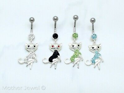 Real 925 Sterling Silver Dangle Cz Cat 316 Surgical Steel Belly Navel Ring