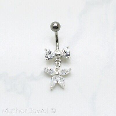 Real 925 Sterling Silver Dangle Bow Butterfly Surgical Steel Belly Navel Ring