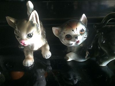 Vintage two cute ceramic cat figurines #12