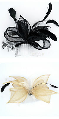 Fascinator Black or Ivory Feather Hair Comb Races Wedding Accessory