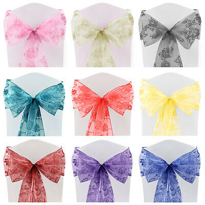 Flocked Organza Sashes Chair Cover Bow Sash FULLER BOWS Wedding Decoration