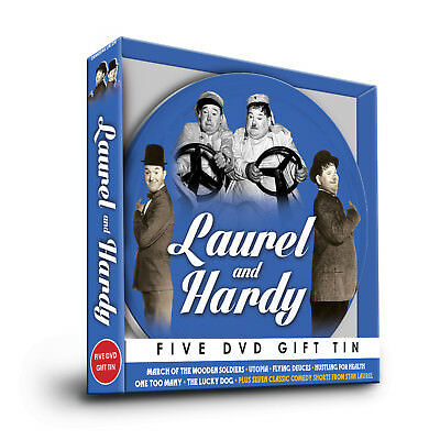 Laurel & Hardy 5  Dvd Gift Film Reel Tin Utopia Flying Deuces, Lucky Dog & More