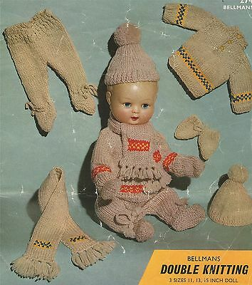 Doll Clothes Knitting Pattern for 11, 13 & 15 inch Doll : DK