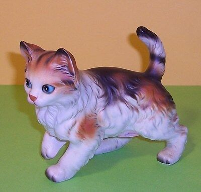 Beautiful Vintage Lefton Calico Tabby Cat Figurine Orig Label Numbered