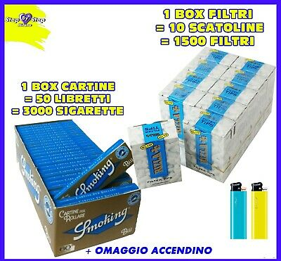 3000 CARTINE SMOKING BLU corte trasparenti 1 box + 1500 FILTRI RIZLA SLIM 1 box