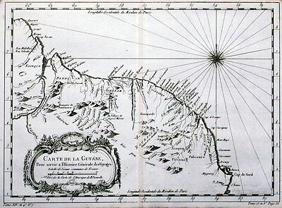Antique map, Carte De La Guyane