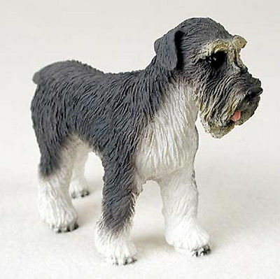 Schnauzer Hand Painted Dog Figurine Statue Gray Uncropped