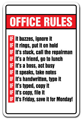"""NOVELTY OFFICE SIGN /"""" I AM THE BOSS/"""" OFFICE RULES ns4"""