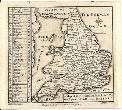 Antique map, Great Roads from London to all parts of south Britain