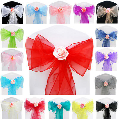 10pcs Organza Sashes Chair Cover Bows Sash Wider Fuller Wedding Party Decoration