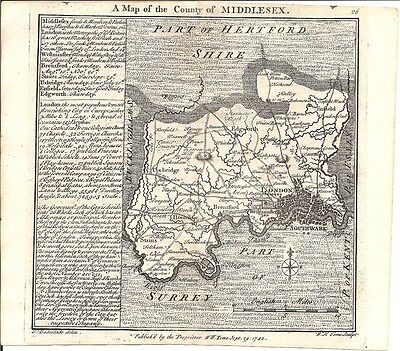 Antique map, Middlesex .