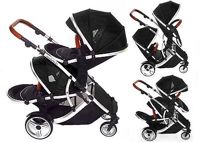 Duellette 21 Bs Twin Newborn Double Pushchair Pram Travel System Tandem Car Seat