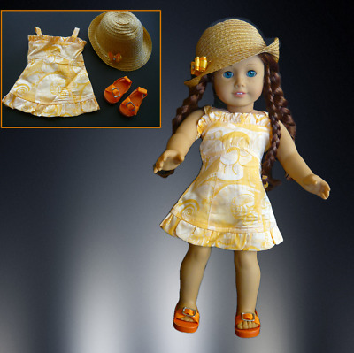 """AMERICAN GIRL DOLL CLOTHES SUN DRESS SANDALS & HAT for 18"""" AMERICAN GIRL DOLL"""