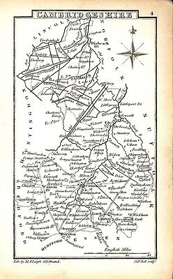 Antique map, Cambridgeshire …