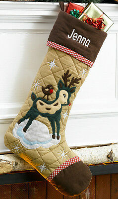 Reindeer Quilted Personalized Christmas Stocking with Corduroy Trim