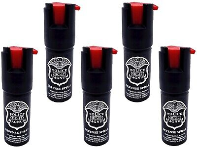 5 PACK Police Magnum pepper spray 1/2oz unit safety lock self defense security