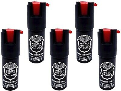 Lot of 5 POLICE MAGNUM MACE PEPPER SPRAY 1/2 oz UNIT WITH SAFETY LOCK