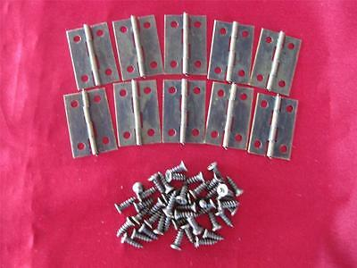 10 SMALL ANTIQUE LOOK HINGES - 24mm x 16mm (B)