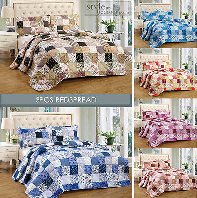 Floral Vintage Patchwork Quilted Bedspread Throw + 2 Pillow Shams