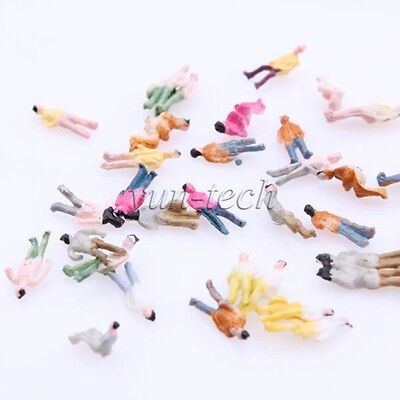 100pcs 1:200 Scale Z Gauge Painted Model People for DIY Layout Stree Figure