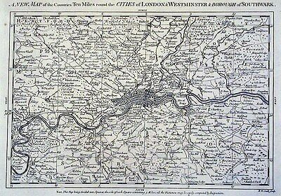 Antique map, A new map of the counties ten miles round the Cities of London