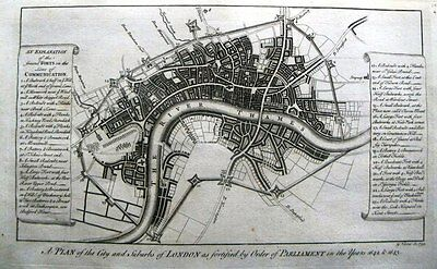 Antique map, A plan of the City and suburbs of London
