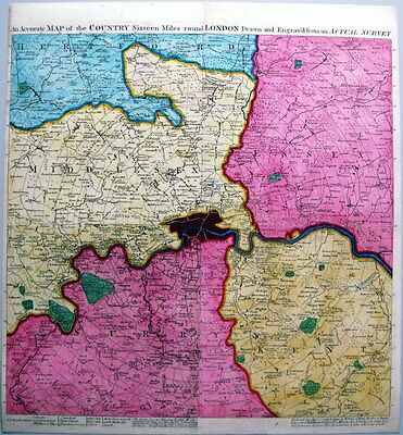 Antique map, An Accurate map of the Country sixteen miles round London