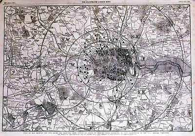 Antique map, Toll-gates and principal bars within six miles of Charing Cross