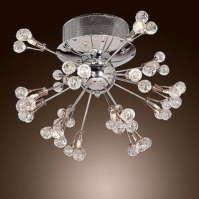 Comtemporary K9 Crystal Chandelier Ceiling Lamp Flush Mount Chrome with 16Lights