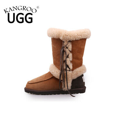 Ladies Genuine Australian Sheepskin Lambskin Lace Ugg Boots Womens Winter Shoes