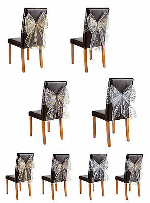 Christmas Decorative Chair Bows Pk Of 2 - 4 Patterns - TO CLEAR - FREE DELIVERY