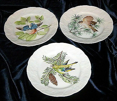 """3 Lierre Sauvage CNP France 8"""" Scalloped Edge Salad Plates With Bird Designs L@@"""