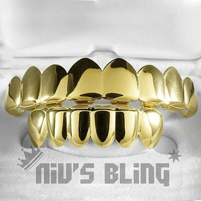 18K IP Gold Plated GRILLZ 8 Tooth Top Bottom Mouth Hip Hop STAINLESS STEEL Grill
