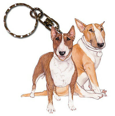 Bull Terrier Wooden Dog Breed Keychain Key Ring