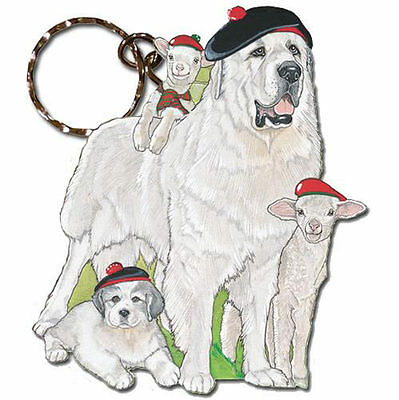 Great Pyrenees Keychain Wooden Key Ring